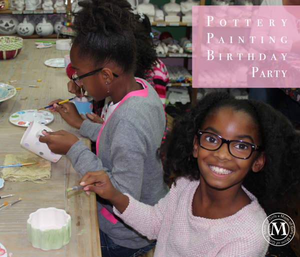 girls emoji theme pottery painting party