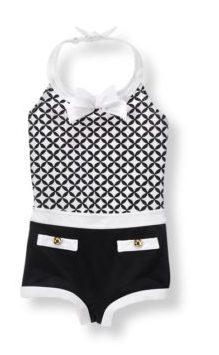 retro swimwear for girls black and white
