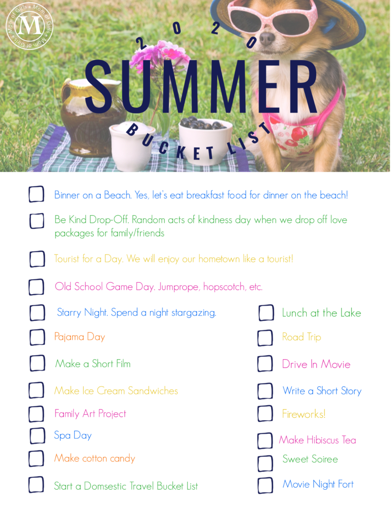 Summer 2020 Bucket List Mom Of Girls Parenting